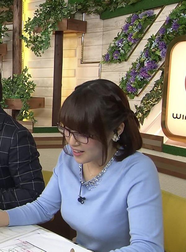 テレ東 鷲見玲奈アナを撮る横乳カメラ画像2