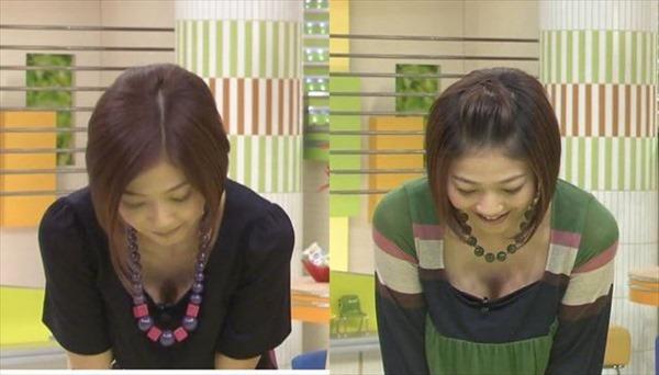 胸元が緩い女子アナウンサー胸チラ画像3