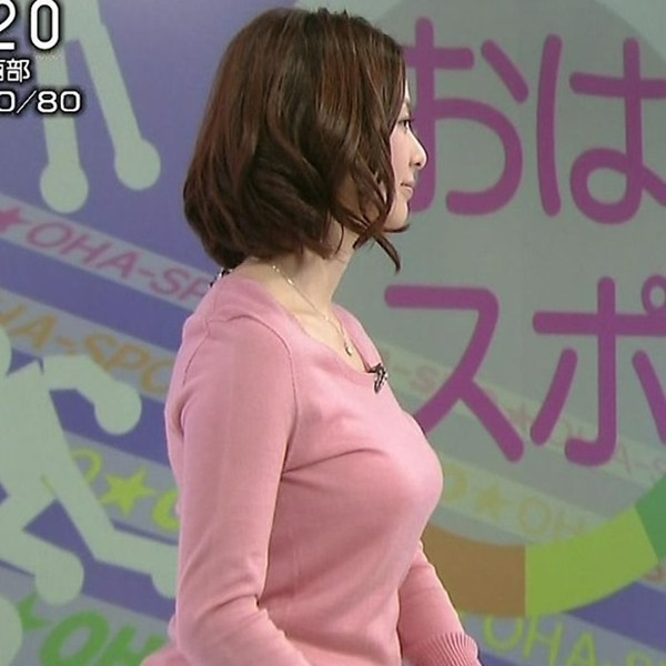 NHK杉浦友紀アナの大きい着衣横乳エロ画像10