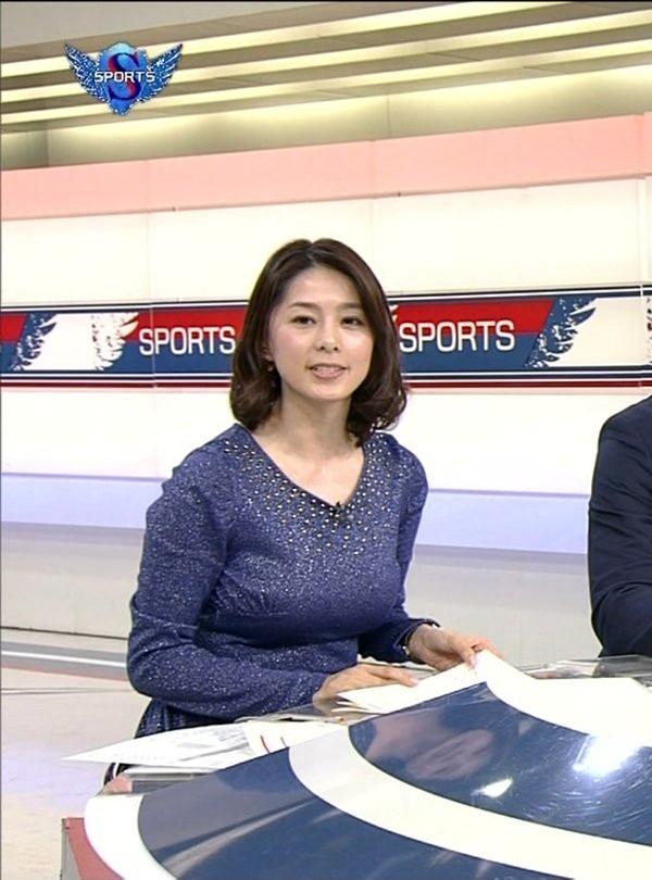 NHK杉浦友紀アナの大きい着衣横乳エロ画像5