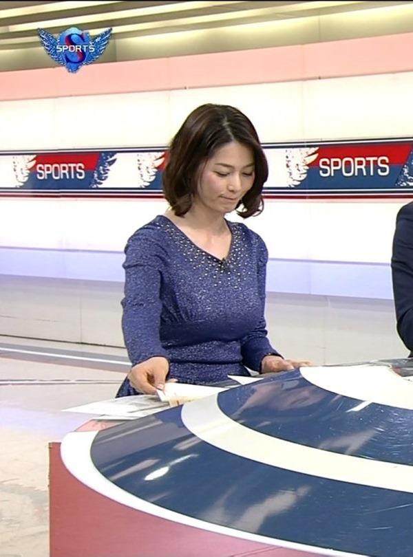 NHK杉浦友紀アナの大きい着衣横乳エロ画像7