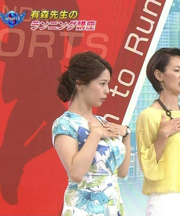 NHK杉浦友紀アナの大きい着衣横乳エロ画像