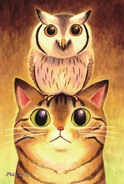 コノハズクと猫