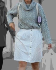 膝丈ホワイトスカート