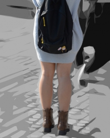 色白生脚のミニスカート