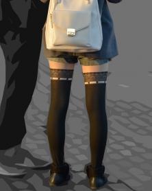 スレンダー美脚の質感が素敵なニーハイ柄のストッキング