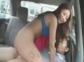 車内でAV女優に騎乗位されて瞬殺された素人男