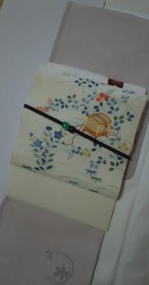 20160817 白翠紗地秋草に虫籠染名古屋帯