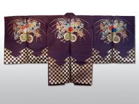 20160829 長絹 紫地花車に市松文様長絹