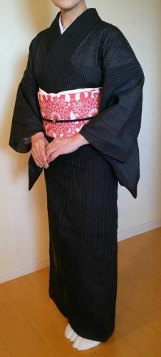 20160902 黒小千谷縮に紺仁ベンガラ色型染め八寸名古屋帯