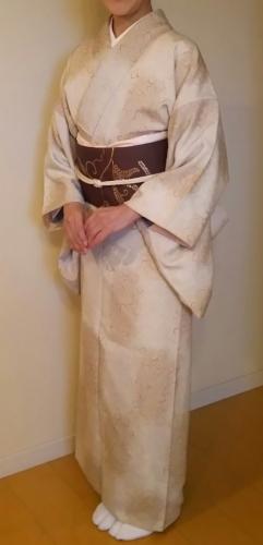 20161009 クレーベージュのぼかし市松小紋