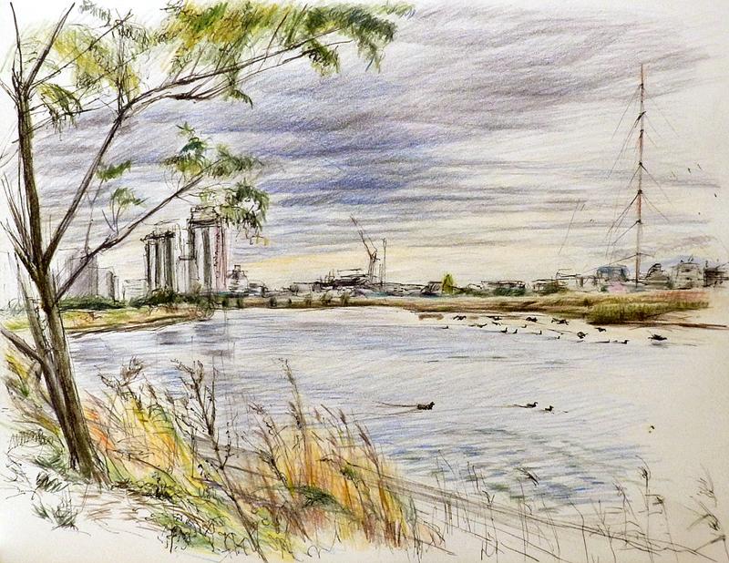 川と電波塔