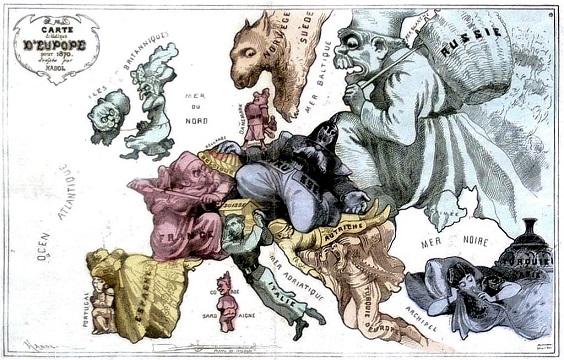 Carte drôlatique d'Europe pour 1870-1