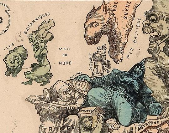 Carte drôlatique d'Europe pour 1870-2