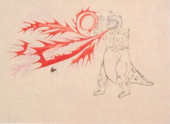 大和絵風怪獣画(未完)1999