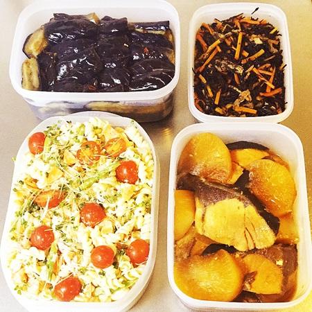 常備菜 ぶり大根、揚げ茄子、マカロニサラダ、ひじきの煮物