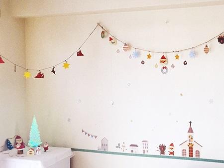 クリスマス壁飾り付け2