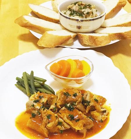 鶏肉料理とジャーマンポテト