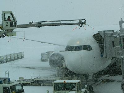 飛行機の雪を溶かすエレファント