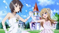 a 332924 dress funami_yui miyanishi_tamako toshinou_kyouko wedding_dress yuru_yuri
