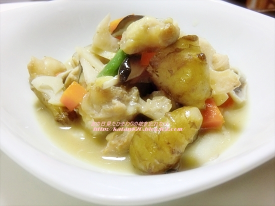 菊芋と鶏(ひざ軟骨・ささ身)の煮物♪