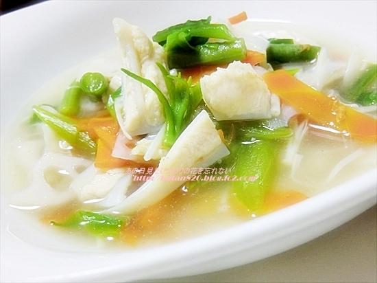 つるむらさきとヤゲン軟骨の煮込みスープ♪