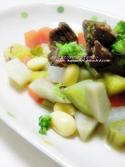 馬肉と根菜のコロコロ重ね煮♪