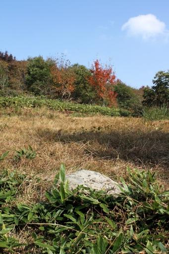 琴弾山神社裏手の平場と礎石