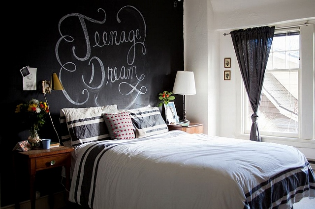 Eclectic-bedroom-with-a-chalkboard-paint-wall-behind-the-headboard.jpg
