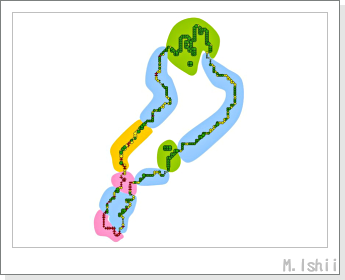 琵琶湖の色分けマップ