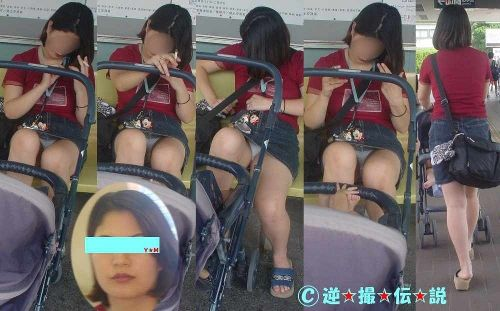 無防備な子連れママさんの座りパンチラを街撮りしたエロ画像 32枚 No.20