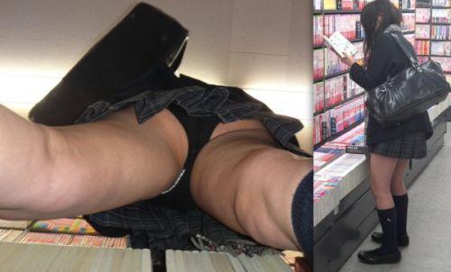 【画像】本屋で立ち読みしてるJKを逆さ撮りするという盗撮の王道はこちらwww 32枚 No.7