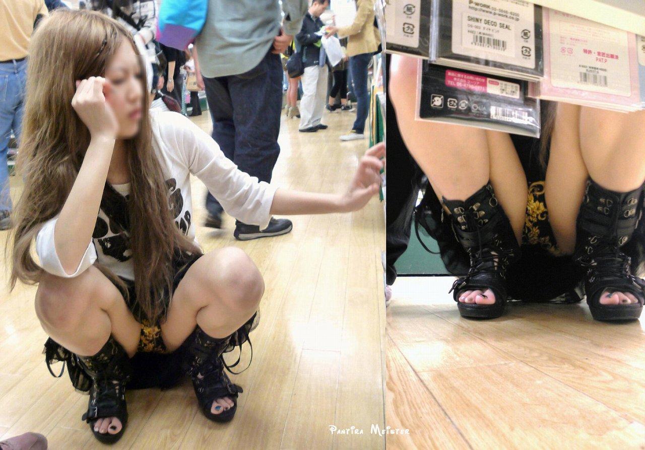 ミニスカGALがお店で棚下パンツ丸見えを秘密撮影された写真がこちら☆ 31枚