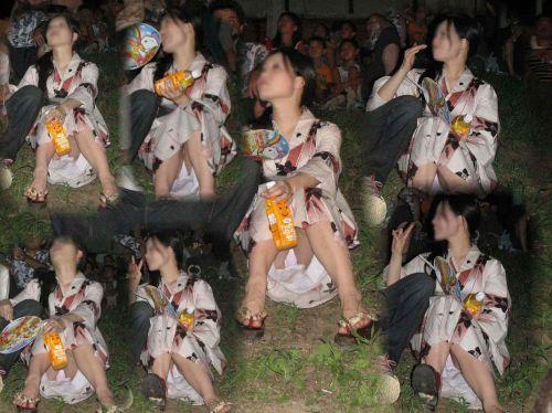 お祭りや花火大会で浴衣姿の女の子の座りパンチラ盗撮画像 36枚 No.33