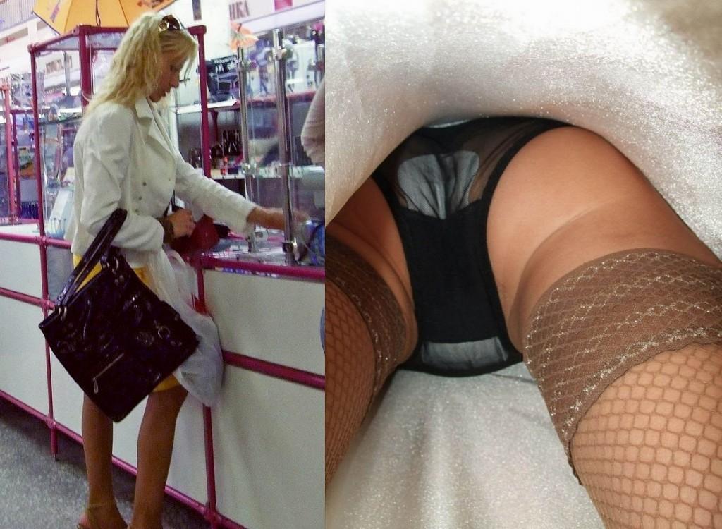 ストッキングを履いたムッチリ外国人女性のパンツ丸見え逆さ撮り写真 37枚