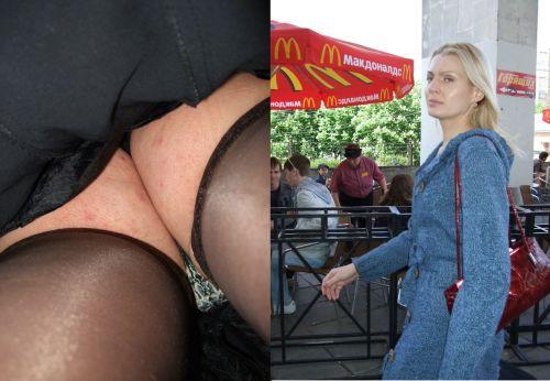 パンストを履いたグラマラス外国人女性のパンチラ逆さ撮り画像 37枚 No.11