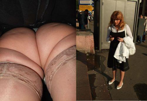 パンストを履いたグラマラス外国人女性のパンチラ逆さ撮り画像 37枚 No.18