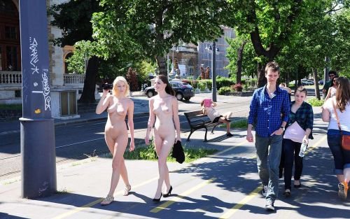 海外のパッキン美女達が全裸で集団野外露出しちゃうエロ画像 34枚 No.8