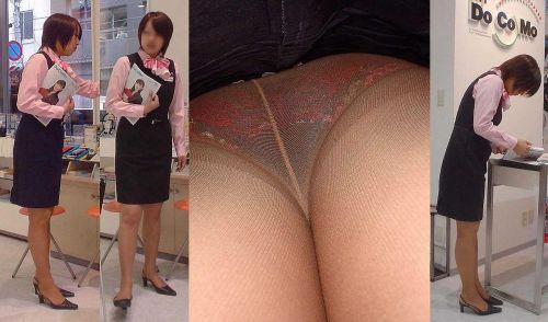 制服姿で一生懸命働く女性のパンチラを逆さ撮り盗撮したエロ画像 31枚 No.19