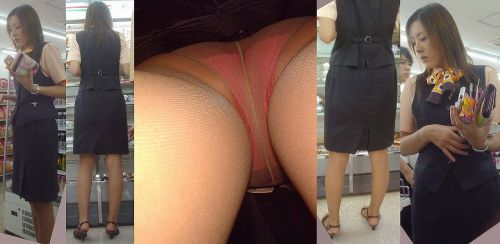 制服姿で一生懸命働く女性のパンチラを逆さ撮り盗撮したエロ画像 31枚 No.20