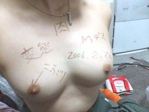 【画像】体やおっぱいに落書きされた肉便器で性奴隷なM女が抜けるwww 31枚 No.30