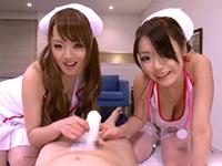処置中に勃起した患者を超高速パイズリするW爆乳痴女ナース