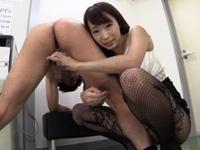 蓮実クレア 痴女秘書が背後手コキと睾丸責めで強制射精させる!