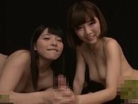 人気AV女優佐倉絆と上原亜衣による痴女風主観ダブルフェラ抜き!スペレズプレイ!