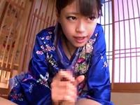 【浅倉愛】和装の痴女っ娘が濃厚ベロチューと寸止め手コキフェラでM男を弄ぶ!