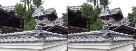 山の辺の道A 「三輪素麺 そうめん處 森正」大黒天の屋根瓦(交差法)
