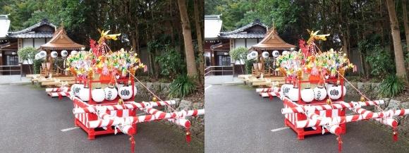 大神神社 自動車お祓所 子供神輿と太鼓台(平行法)