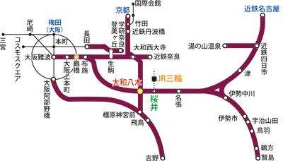 大神神社アクセス路線図