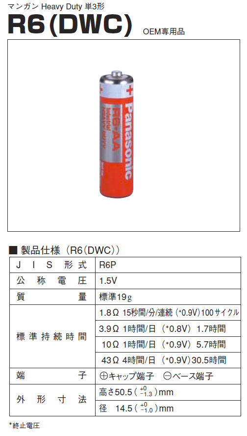 二円電池放電容量テスト(単三マンガン電池)