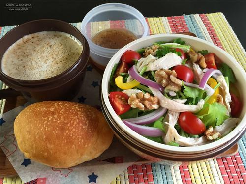 蒸し鶏のパクチーサラダ弁当01
